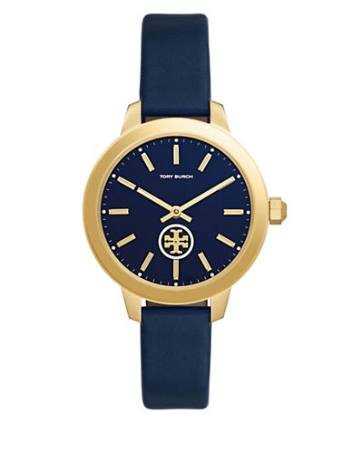 Tory Burch Collins Goldtone Stainless Steel Navy Leather Strap Watch-BLUE-One Size