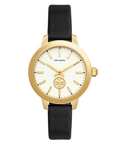 Tory Burch Collins Goldtone Stainless Steel Black Leather Strap Watch-BLACK-One Size
