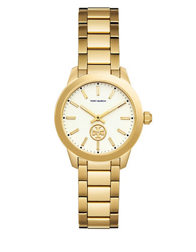 Tory Burch Collins Goldtone Two-Hand Stainless Steel Link Bracelet Watch-GOLD-One Size