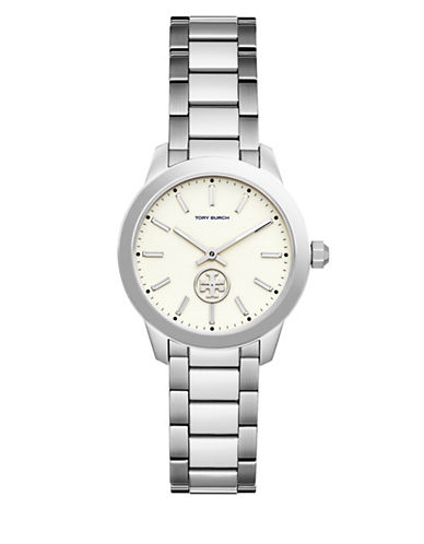 Tory Burch Collins Two-Hand Stainless Steel Link Bracelet Watch-SILVER-One Size