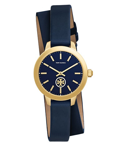 Tory Burch Collins Goldtone Stainless Steel Navy Leather Double Strap Watch-BLUE-One Size