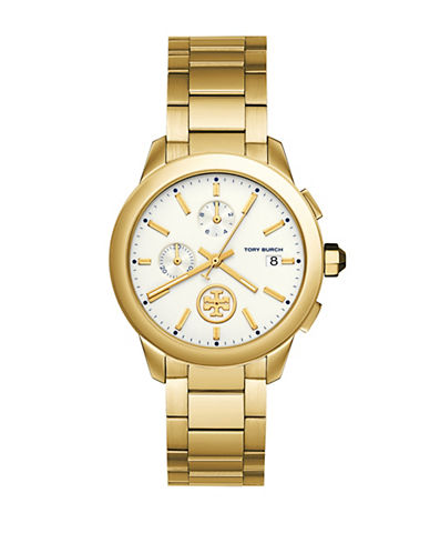 Tory Burch Collins Goldtone Stainless Steel Link Bracelet Chronograph Watch-GOLD-One Size