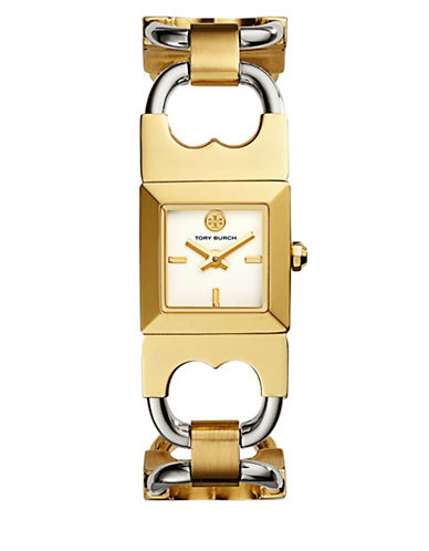 Tory Burch The Gemini Two-Tone Stainless-Steel Double-T Watch-GOLD-One Size