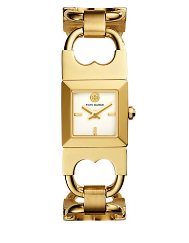 Tory Burch The Gemini Gold-Tone Stainless-Steel Double-T Watch-GOLD-One Size