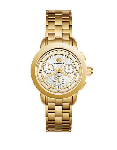 Tory Burch The Tory Stainless-Steel Chronograph Watch-GOLD-One Size