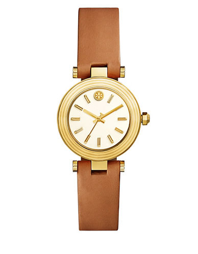 Tory Burch The Classic T Luggage Leather Three-Hand Watch-BROWN-One Size