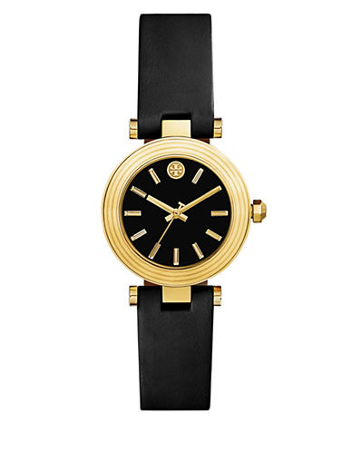 Tory Burch The Classic T Black Leather Three-Hand Watch-BLACK-One Size