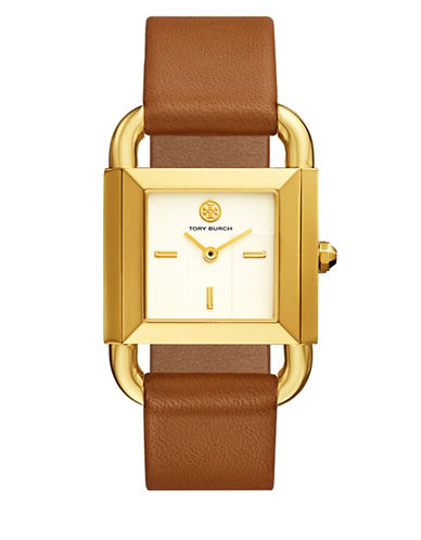 Tory Burch The Phipps :uggage Leather Gold-Tone Watch-BROWN-One Size