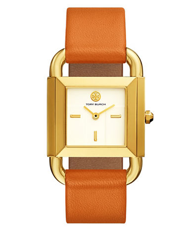 Tory Burch The Phipps Lilium Orange Leather Gold-Tone Watch-ORANGE-One Size
