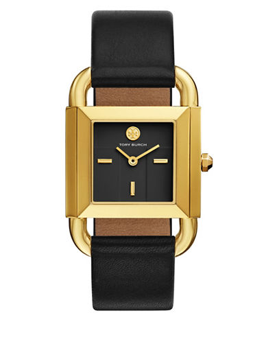 Tory Burch The Phipps Black Leather Gold-Tone Watch-BLACK-One Size