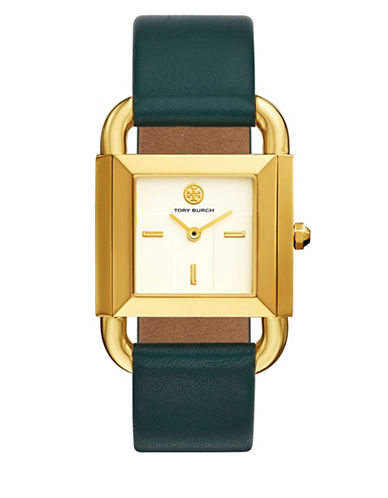 Tory Burch The Phipps Valley Forage Green Leather Gold-Tone Watch-GREEN-One Size