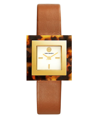 Tory Burch The Sedgwick Valley Lugagge Leather and Tortoise Face Watch-GOLD-One Size