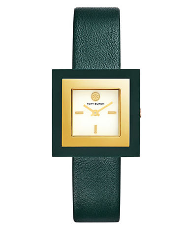 Tory Burch The Sedgwick Valley Forge Green Leather Gold-Tone Watch-GREEN-One Size