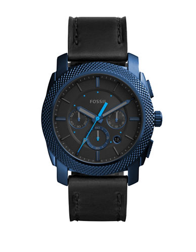 Fossil Machine Chronograph Black Leather Watch-BLACK-One Size