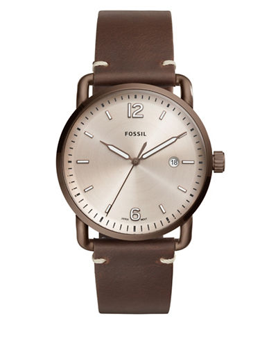 Fossil The Commuter Analog Leather Strap Watch-BROWN-One Size
