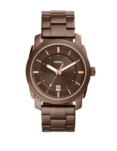 Fossil Machine Stainless Steel Bracelet Watch-BROWN-One Size