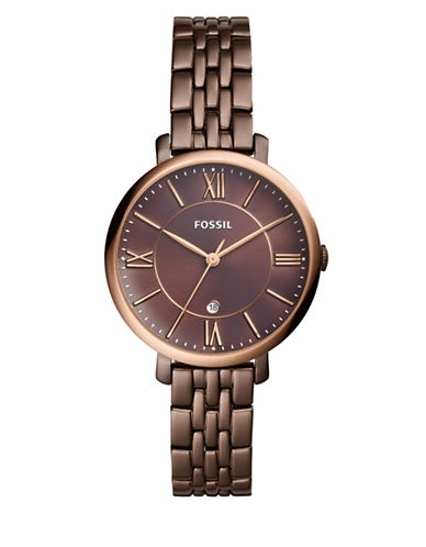 Fossil Jacqueline Analog Bracelet Watch-BROWN-One Size