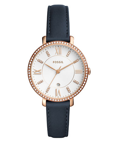 Fossil Analog Jacqueline Rose-Goldtone Leather Strap Watch-BLUE-One Size