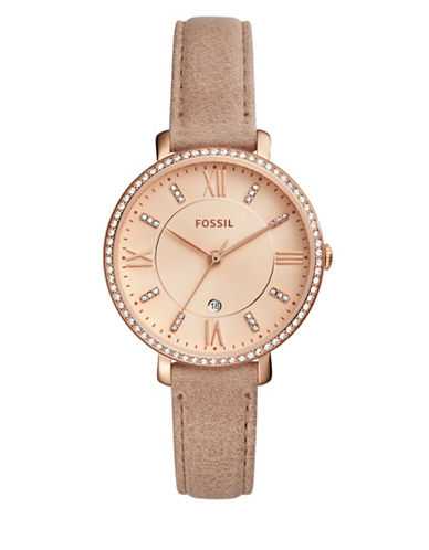 Fossil Jacqueline Crystal Analog Leather Strap Watch-BROWN-One Size