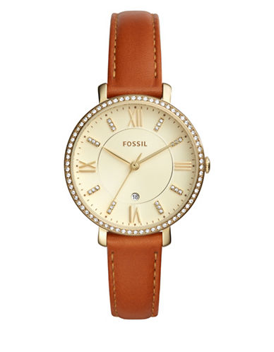 Fossil Analog Jacqueline Goldtone Leather Strap Watch-BROWN-One Size