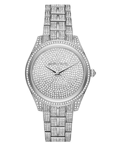 Michael Kors Analog Pave Lauryn Stainless Steel Bracelet Watch-SILVER-One Size