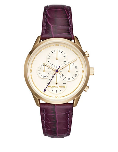 Michael Kors Chronograph Slater Goldtone Leather Strap Watch-PURPLE-One Size