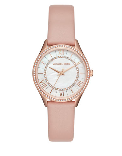 Michael Kors Analog Lauryn Rose-Goldtone and Blush Leather Strap Watch-PINK-One Size