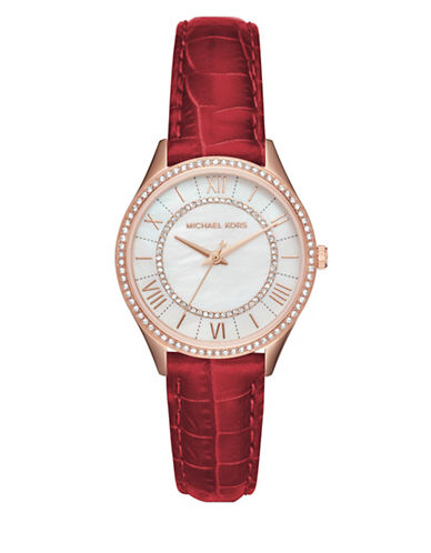 Michael Kors Analog Lauryn Rose-Goldtone Red Leather Strap Watch-RED-One Size