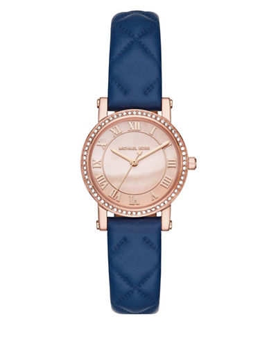 Michael Kors Analog Petite Norie Rose-Goldtone Leather Strap Watch-BLUE-One Size