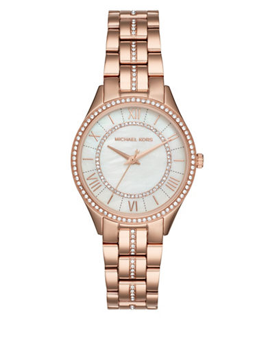 Michael Kors Analog Lauryn Rose-Goldtone & Crystal Stainless Steel Bracelet Watch-ROSE GOLD-One Size