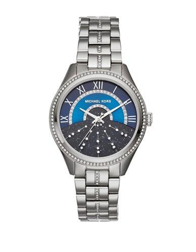 Michael Kors Analog Lauryn Crystal Stainless Steel Bracelet Watch-SILVER-One Size