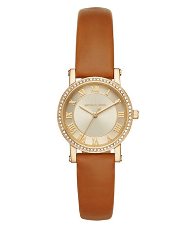 Michael Kors Norie Goldtone Stainless Steel Leather Strap Watch-BROWN-One Size