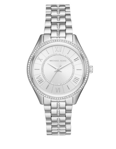 Michael Kors Lauryn Analog Ladiesmetals Bracelet Watch-SILVER-One Size