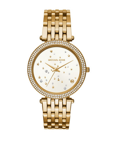 Michael Kors Darci Goldtone Stainless Steel Link Bracelet Watch-GOLD-One Size