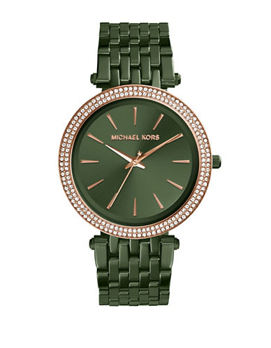 Michael Kors Darci Olive IP Stainless Steel Link Bracelet Watch-GREEN-One Size