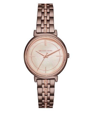 Michael Kors Analog Cinthia Taupe IP Bracelet Watch-BROWN-One Size