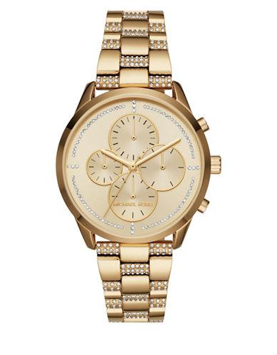 Michael Kors Chronograph Slater Goldtone Bracelet Watch-GOLD-One Size