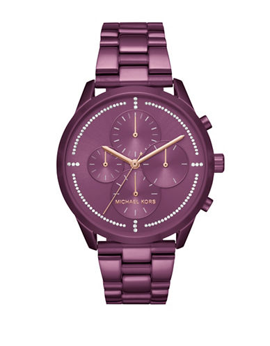 Michael Kors Chronograph Slater Purple IP Bracelet Watch-PURPLE-One Size