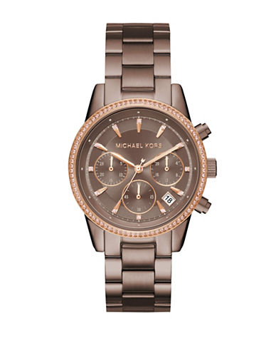 Michael Kors Ritz Chronograph Sable IP Stainless Steel Watch-BROWN-One Size