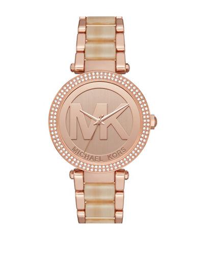 Michael Kors Parker Rose Goldtone Stainless Steel Champagne Horn Bracelet Watch-ROSE GOLD-One Size