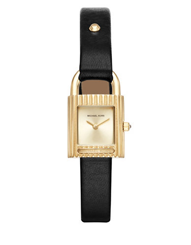 Michael Kors Isadore Goldtone Stainless Steel Black Leather Strap Watch-BLACK-One Size