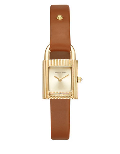 Michael Kors Isadore Goldtone Stainless Steel Camel Leather Strap Watch-BROWN-One Size