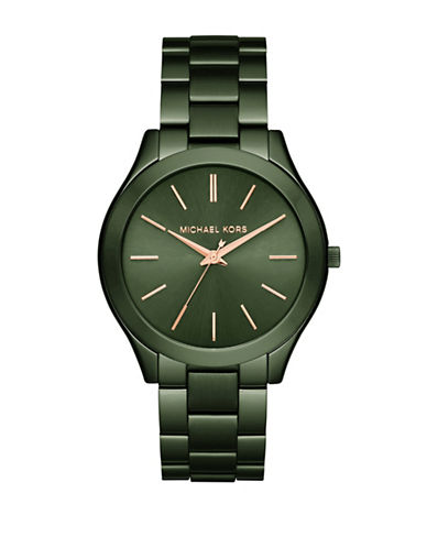Michael Kors Slim Runway Olive IP Stainless Steel Link Bracelet Watch-GREEN-One Size