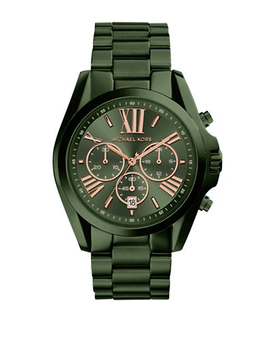 Michael Kors Bradshaw Chronograph Olive IP Stainless Steel Watch-GREEN-One Size