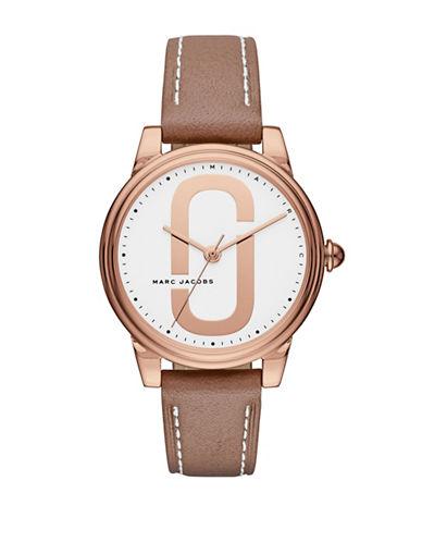 Marc Jacobs Corie Rose Goldtone Leather Strap Watch-BROWN-One Size