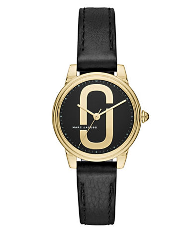 Marc Jacobs Corie Goldtone Stainless Steel Leather Strap Watch-BLACK-One Size