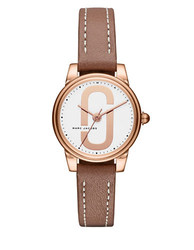 Marc Jacobs Corie Rose Goldtone Stainless Steel Leather Strap Watch-BROWN-One Size