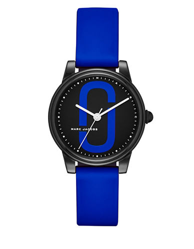 Marc Jacobs Analog Logo Black IP Silicone Strap Watch-BLUE-One Size