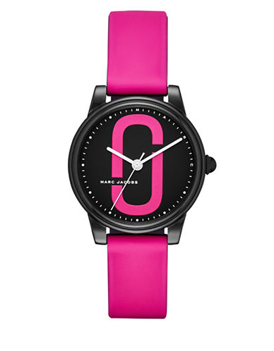 Marc Jacobs Analog Logo Black IP Silicone Strap Watch-PINK-One Size