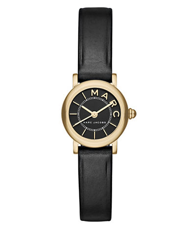 Marc Jacobs Classic Goldtone Stainless Steel Leather Strap Watch-BLACK-One Size